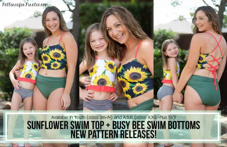 New Pattern Releases :: Sunflower Swim Top + Busy Bee Swim Bottoms!